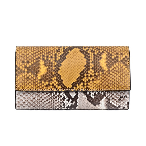 5ad81f86b4f New Gucci Yellow Grey Python Continental Wallet